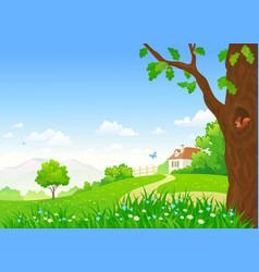 rural summer scene vector image vector image