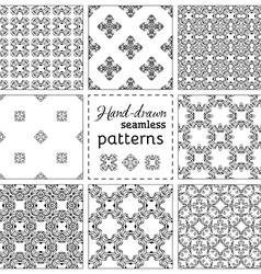 Set of nine seamless hand-drawn patterns vector image vector image