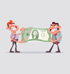 two men office workers character divide money vector image vector image