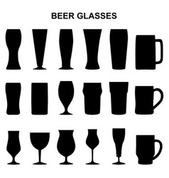 set of silhouettes of beer glasses vector image vector image