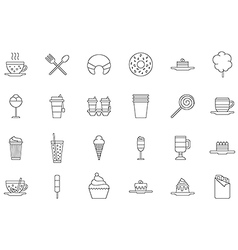 Cafeteria food black icons set vector image