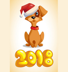 cartoon dog with the inscription 2018 vector image vector image