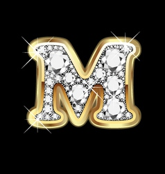 letter m gold and diamond vector image vector image