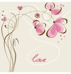 love floral card vector image vector image