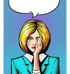 pop art of the crying woman vector image