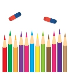 set of colored pencils with erasers vector image vector image
