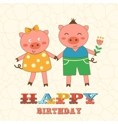 Stylish Happy birthday card with cute pigs couple vector image vector image