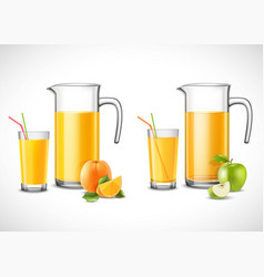 jugs with apple and orange juice vector image vector image