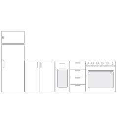 schematic kitchen furniture vector image