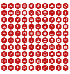 100 entertainment icons hexagon red vector