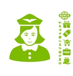 Airline Stewardess Icon With Free Bonus vector