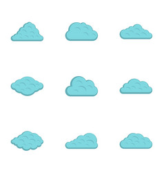 atmosphere cloud icon set flat style vector image