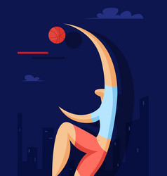 Basketball player throws the ball in the basket vector