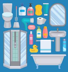 bath equipment icons human body hygiene vector image