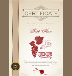 best wine certificate template vector image