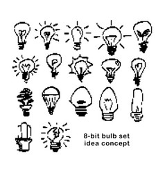 Black 8-bit light bulbs symbol of idea vector