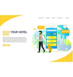 Book hotel online landing page website vector