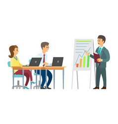 Boss presenter on seminar with listening coworkers vector