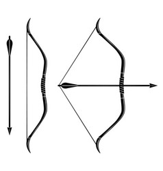 Bow and arrow icon stretched bow vector