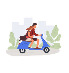 boyfriend and girlfriend riding scooter flat vector image
