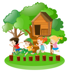 boys and girls in the garden vector image