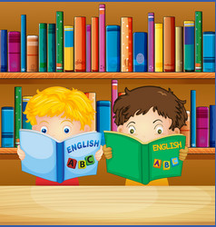 boys reading books in library vector image