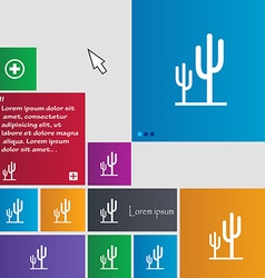 Cactus icon sign buttons Modern interface website vector