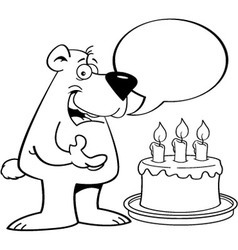Cartoon bear with a speech balloon vector