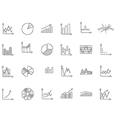 Charts black icons set vector