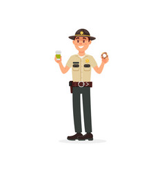 cheerful town male sheriff police officer vector image