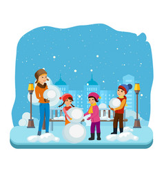 Children in winter clothes sculpt a snowman vector