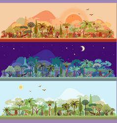 Collection of tropical rainforest vector