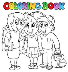 Coloring book school cartoons 6 vector