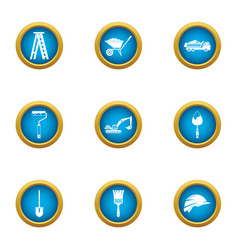 contemporary house icons set flat style vector image