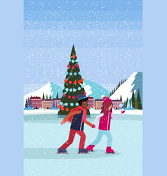 Couple skating ice rink decorated christmas tree vector