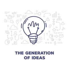 Creative of big light bulb with line icons and vector