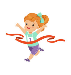 cute girl running to the finish line first kids vector image