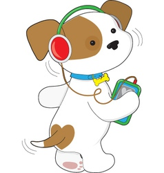 Cute Puppy Headphones vector image
