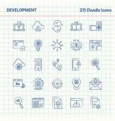 Development 25 doodle icons hand drawn business vector