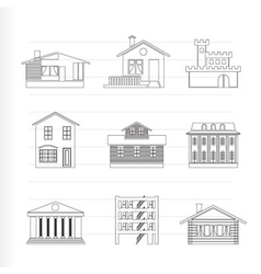 different kind of houses and buildings vector image