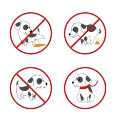 Dog signs No pissing and pooping icon vector