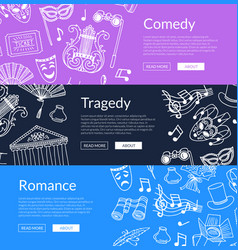 Doodle theatre elements banners vector