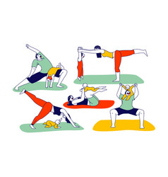 family yoga with baby young athlete man and woman vector image