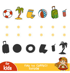 find correct shadow set summer items and vector image
