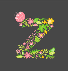 Floral summer letter z flower capital wedding vector