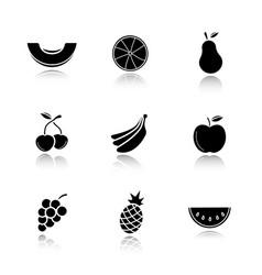 Fruit drop shadow black icons set vector