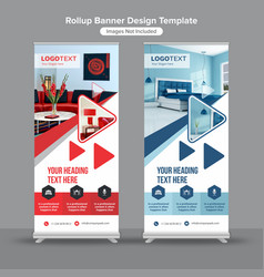 Geometric interior design roll up banner vector