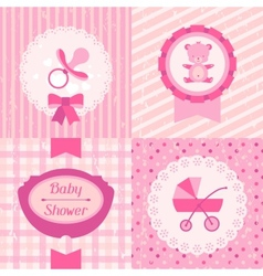 Girl baby shower invitation cards vector