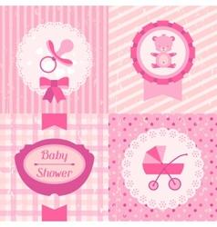 Girl bashower invitation cards vector