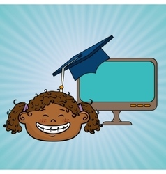 Girl student laptop idea graduation vector